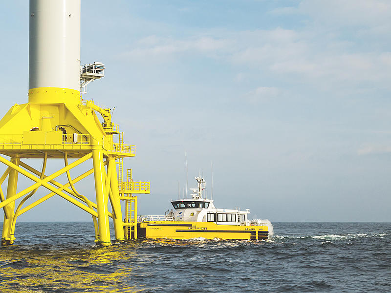 Crew transfer vessel Windcat 43 at a wind power platform.